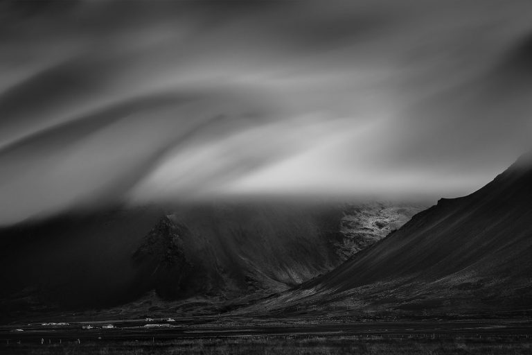 iceland mountains bw