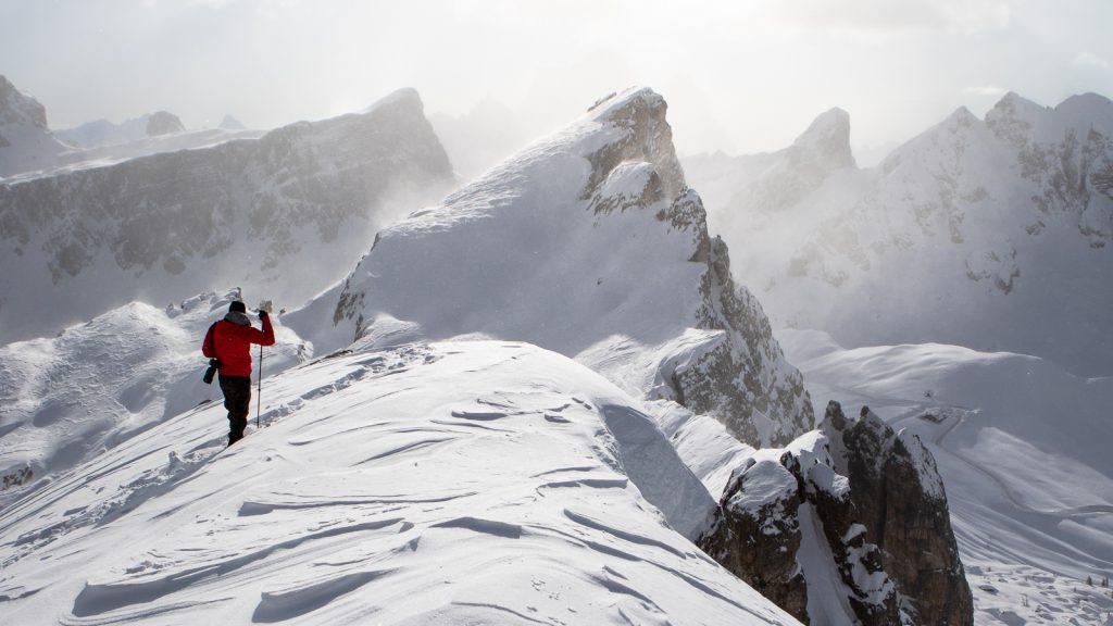Tomasz Przychodzień zimą na Nuvolau