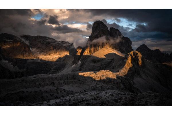 Photograph of Croda dei Toni peak at sunset