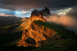 Sunset in the Dolomites. Odle massif seen from Seceda